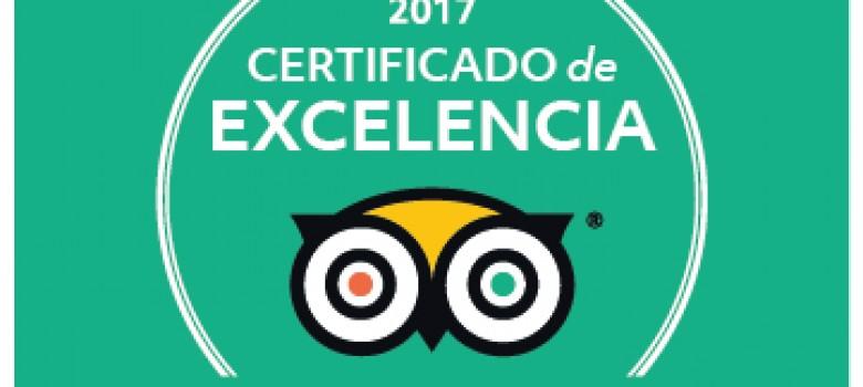 Un año más, recibimos el certificado de excelencia en Tripadvisor